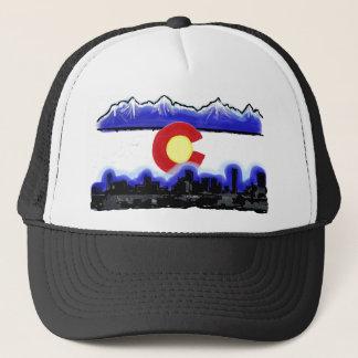 Denver Colorado skyline modern flag hat