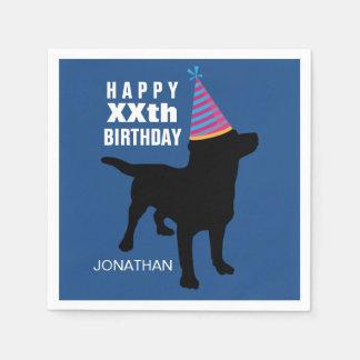 Casquette noir drôle d'anniversaire de chien de serviettes en papier