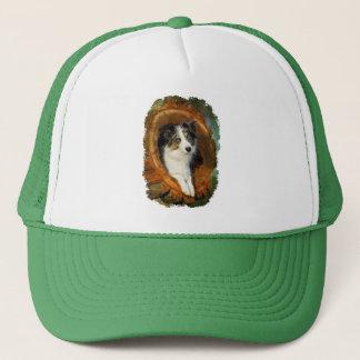 Casquette Photo bleue de portrait de chien de border collie