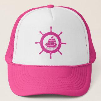 Casquette Roue nautique blanche et rose de bateau