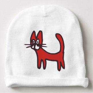 Casquette rouge de chat de bande dessinée drôle bonnet pour bébé