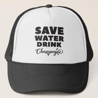 Casquette Sauvez l'eau, boisson Champagne