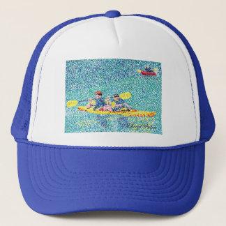 Casquette Scène de kayak de Pointillism, peignant par Cheryl
