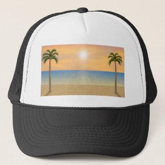 Casquette Scène de plage de coucher du soleil :