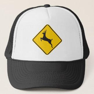 Casquette Signe de route de croisement de cerfs communs