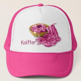 Casquette Tricoteuse - tricotez à la main fil fuchsia/rose