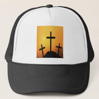 Casquette Trois croix de Pâques au coucher du soleil