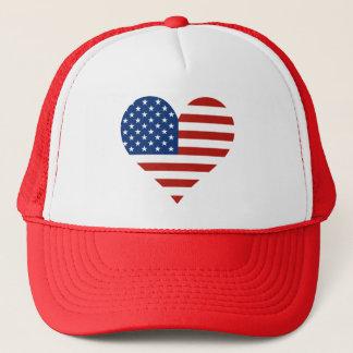 Casquettes de coeur de drapeau des USA