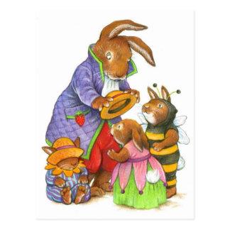 Casquettes de lapin par Katy Bratun Carte Postale