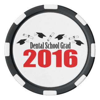 Casquettes et diplômes du diplômé 2016 d'école jetons de poker
