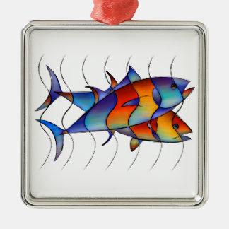Cassanella - poisson rêveur ornement carré argenté