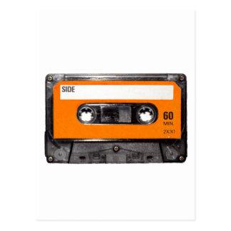 Cassette orange des années 80 d'étiquette carte postale