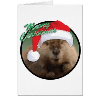 Castor de Noël - carte de voeux, standard