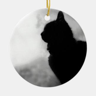 Cat a mangé Night Feline Animal la casquette Cat Ornement Rond En Céramique
