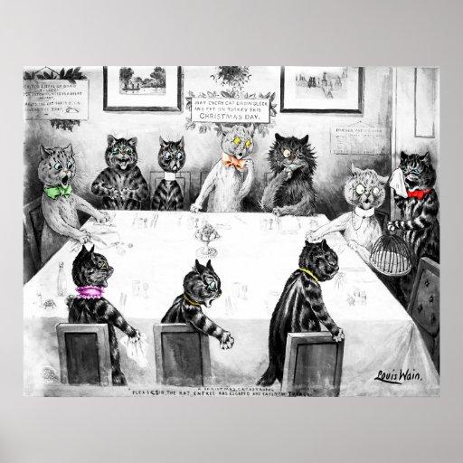 Catastrophe de Noël de chats par Louis Wain Posters