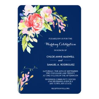 Cattails et floral sur le mariage de bleu marine carton d'invitation  12,7 cm x 17,78 cm