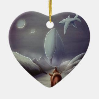 Cavalier dans la planète des dauphins de vol ornement cœur en céramique