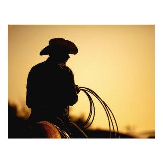 Cavalier et corde de cheval dans le coucher du prospectus 21,6 cm x 24,94 cm