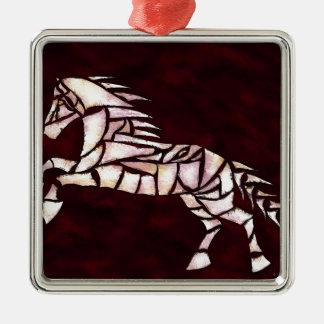 Cavallerone - cheval blanc ornement carré argenté