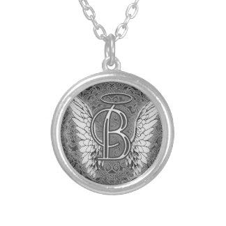 Ce dernier initial de l'alphabet B d'ange s'envole Pendentif Rond