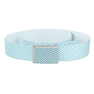 Ceinture Le zigzag bleu et blanc barre le motif de Chevron