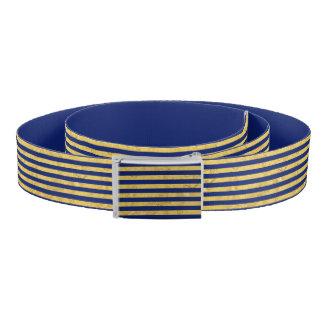 Ceinture Motif de feuille d'or élégante et de rayure bleue