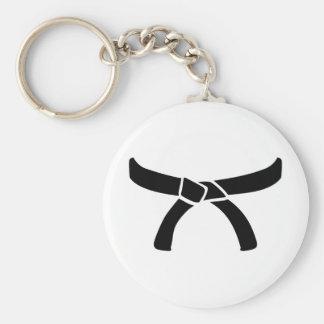 Ceinture noire de judo porte-clé rond