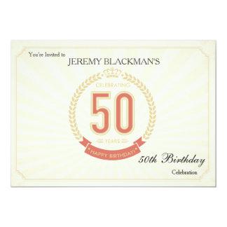 Célébrant 50 ans d'invitation d'anniversaire carton d'invitation  12,7 cm x 17,78 cm