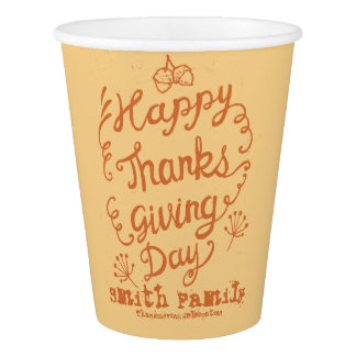Célébration de famille de bon thanksgiving gobelets en papier