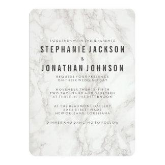 Célébration de marbre élégante moderne de mariage carton d'invitation  12,7 cm x 17,78 cm