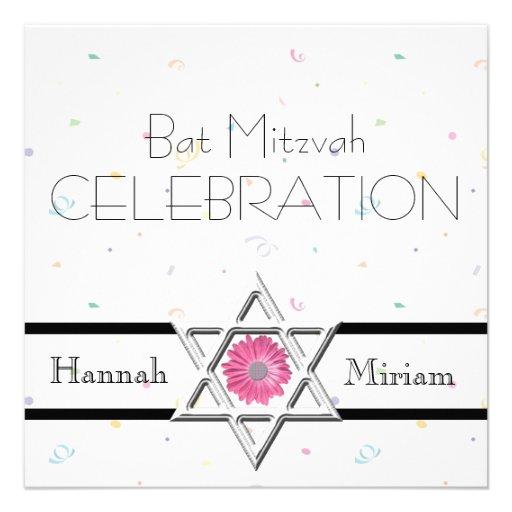 Célébration-Étoile de bat mitzvah de David+Confett Invitations