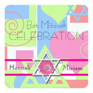 Célébration-Étoile de bat mitzvah de David/de Carton D'invitation 13,33 Cm