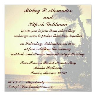 Célébration romantique de mariage de plage carton d'invitation  13,33 cm