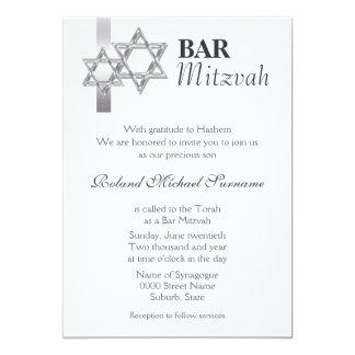Célébrations formelles de mitzvah de barre grise carton d'invitation  12,7 cm x 17,78 cm