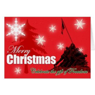 Célébrez la carte de Noël militaire de liberté