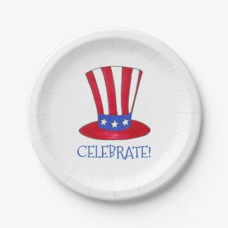 Célébrez l'Oncle Sam patriotique Etats-Unis Assiettes En Papier