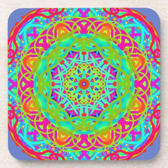 Célébrons le mandala coloré dessous-de-verre