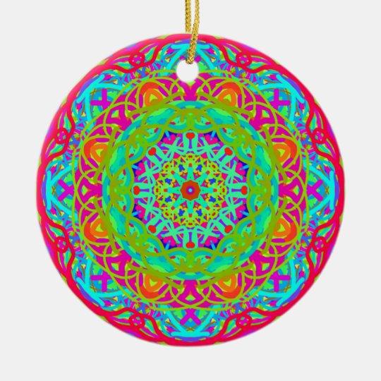 Célébrons le mandala coloré ornement rond en céramique