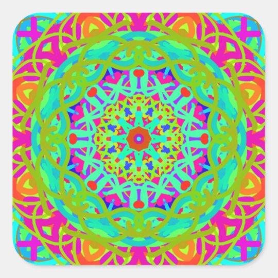 Célébrons le mandala coloré sticker carré