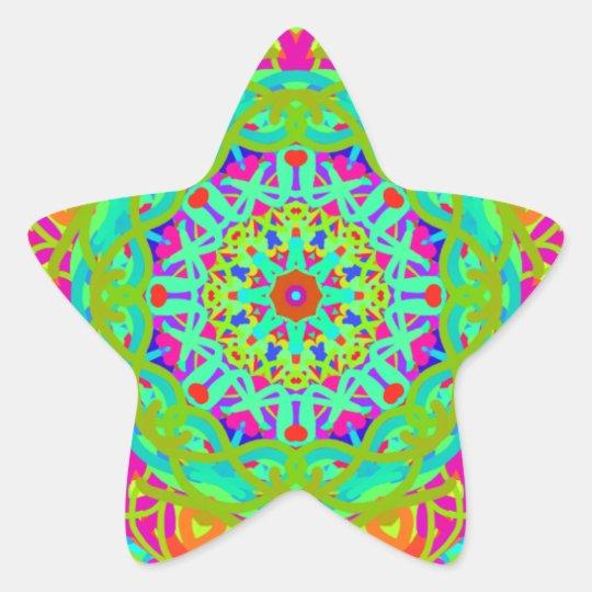 Célébrons le mandala coloré sticker étoile