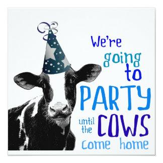 Célibataire de vache ou partie drôle de carton d'invitation  13,33 cm