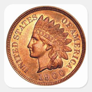 Cent principal indien rouge vintage 1900 du penny sticker carré