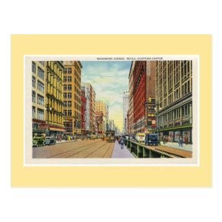 Centre commercial vintage de Detroit Woodward Cartes Postales