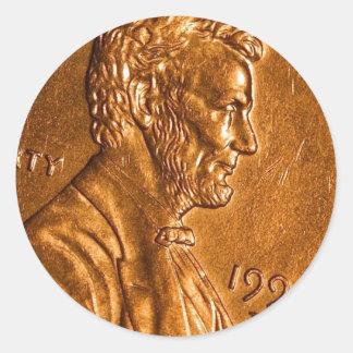 Cents Lincoln de cuivre de penny Sticker Rond