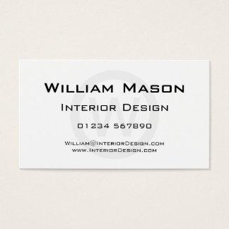 Cercle blanc de monogramme - carte de visite