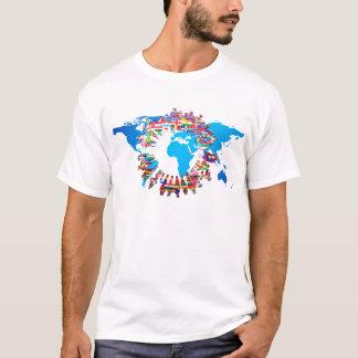 Cercle continent de drapeau de personnes t-shirt