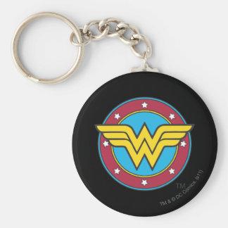 Cercle de la femme de merveille   et logo porte-clé rond