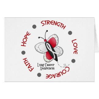 Cercle inspiré du papillon 2 de cancer de poumon carte