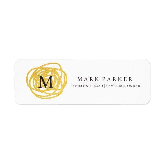 Cercle tiré par la main de feuille d'or moderne de étiquettes d'adresse retour