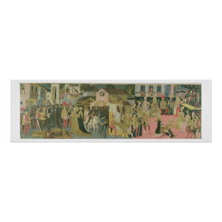 Cérémonie de mariage peinte sur le panneau de cass